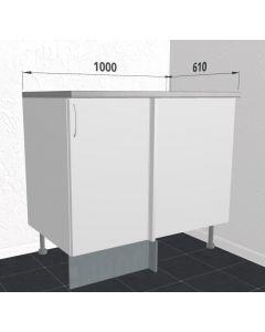 Hjørneskab 100 cm med låge og 1/2 karrusel med 2 hylder - Hvid mat folie