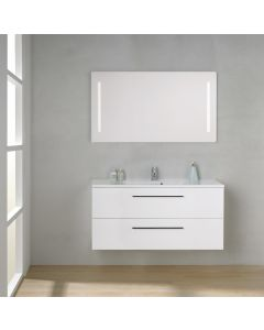 Scanbad Multo+ Skuffeskab med Mikado vask og 2 metalskuffer - 120 x 59,6 x 44 cm - Inkl. spejl med 2 LED lyszoner