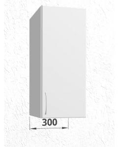 Overskab 30 cm med 2 hylder og låge - Hvid mat folie