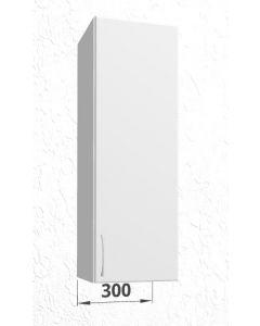 Høj overskab 30 cm med 3 hylder og låge - Hvid mat folie