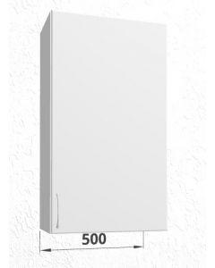 Høj overskab 50 cm med 3 hylder og låge - Hvid mat låger