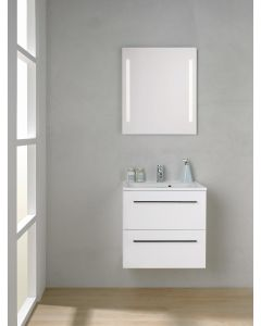 Scanbad Multo+ Skuffeskab med Mikado vask og 2 metalskuffer - 60 x 59,6 x 44 cm - Inkl. spejl med 2 LED lyszoner u/sensor