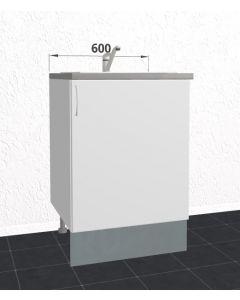 60cm Tomt vaskeskab (1 låge) H:704mm D:580mm - u-samlet - Hvid mat folie låge