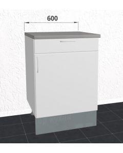 60cm Underskab med 1 skuffe og løs hylde (1 låge) H:705mm D:560mm - u-samlet - Hvid mat folie låge