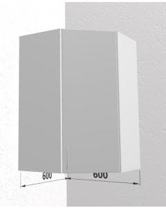 Diagonalt høj hjørneskab 60 cm med 3 hylder og låge - Hvid mat folie