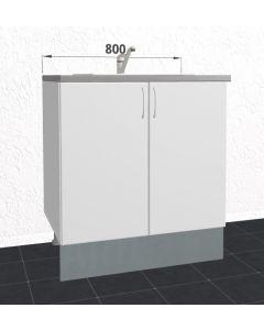 80cm Tomt vaskeskab (2 låger) H:704mm D:580mm - u-samlet - hvid mat folie låger