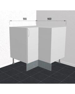 Hjørneskab 90 cm med knæklåge og 3/4 karrusel med 2 hylder - Hvid mat folie