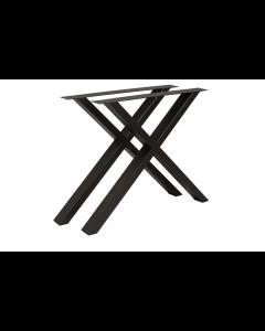 Bordunderstel B750xD80xH705 stål pulverlakeret sort X-stel - sæt med 2 stk. - Skabsdesign.dk
