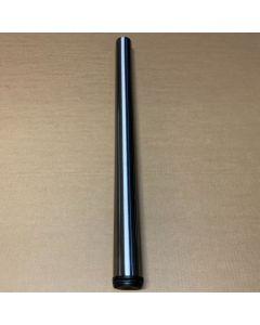 Rund stål bordben, 60x1100mm - Børstet stål - Med justerbar plast fod.