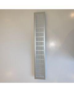 Ventilationsrist - Udluftningsrist Alu look - H:79,8mm x L:480mm - Model 80 - Ovale huller