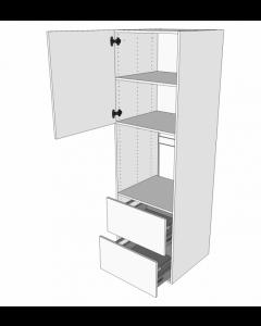 Indbygningsskab til ovn 60 cm med 3 hylder, låge og 2 skuffer - deludtræk - Hvid mat folie