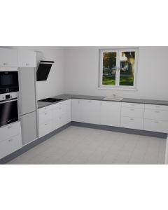 Køkken i hvid højglans folie - vinkelopstilling - Skabsdesign