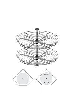 Karrusel til diagonal hjørneskab med 2 kurve - Ø690mm - Skabsdesign