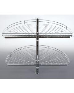 Karrusel til lige hjørneskab med 2 kurve - Ø820mm - Passer til lige hjørneskabe med en lågebredde helt ned til 50cm
