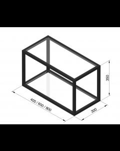 Sort reol med 2 hylder - B:600 x D:300 x H:350mm - Modalus - Skabsdesign.dk