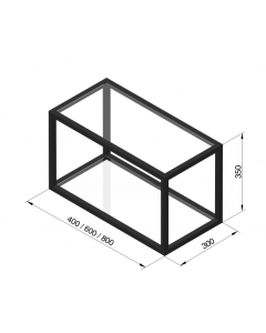 Sort reol med 2 hylder - B:800 x D:300 x H:350mm - Modalus - Skabsdesign.dk