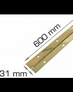Piano hængsel - 600 mm - Klaverhængsel - Messing inkl. skruer - Skabsdesign.dk