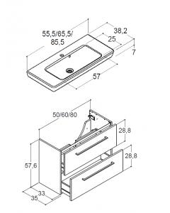Scanbad Multo+ 50cm Badskab med 2 skuffer og LOTTO porcelænsvask - Skabsdesign