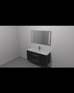 Scanbad Multo+ Skuffeskab med Mikado vask og 2 metalskuffer - Sort struktur - 120 x 59,6 x 44 cm - Inkl. spejl med 2 LED lyszoner