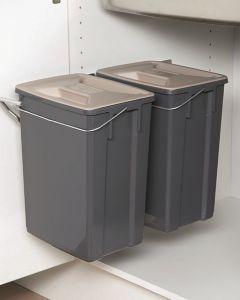 Pelly affaldssystem sidehængt med 2 spande.  Velegnet til sortering.