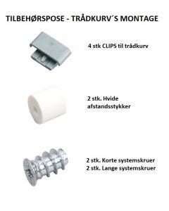 Beslagspose med clips, afstandsstykker og systemskruer -> Til denne skinne: Skuffeskinner - Kugleløb - 500x45x1,2 stål elg. - Inkl. vinkler til at montere hylde elle evt. kurve på.