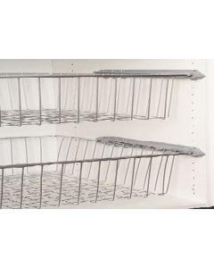 Trådkurv til 50 cm skabe - Højde 8,5cm - Inkl. Skinner - 2 Kurve