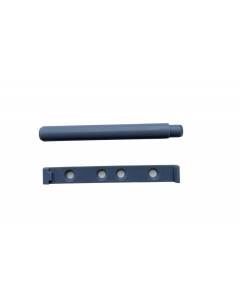 Tryklås med anslagsdæmper - Push open - Ø7,2x81x10x15mm - Plast lysegrå med skruer  - Skabsdesign
