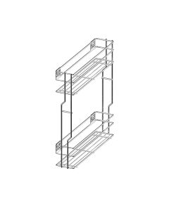 Rengøringsudtræk til skab - Smal model 166mm - Med softclose og fuldudtræk - Krom